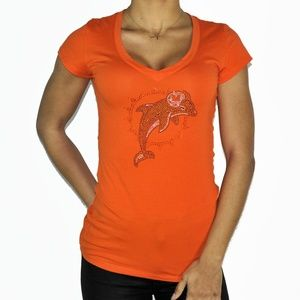 Rhinestone Miami Dophins bling stretchy shirt top